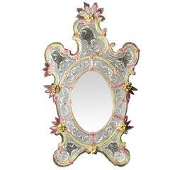 Breathtaking 'Pavone' Venetian Mirror by Ongaro e Fuga