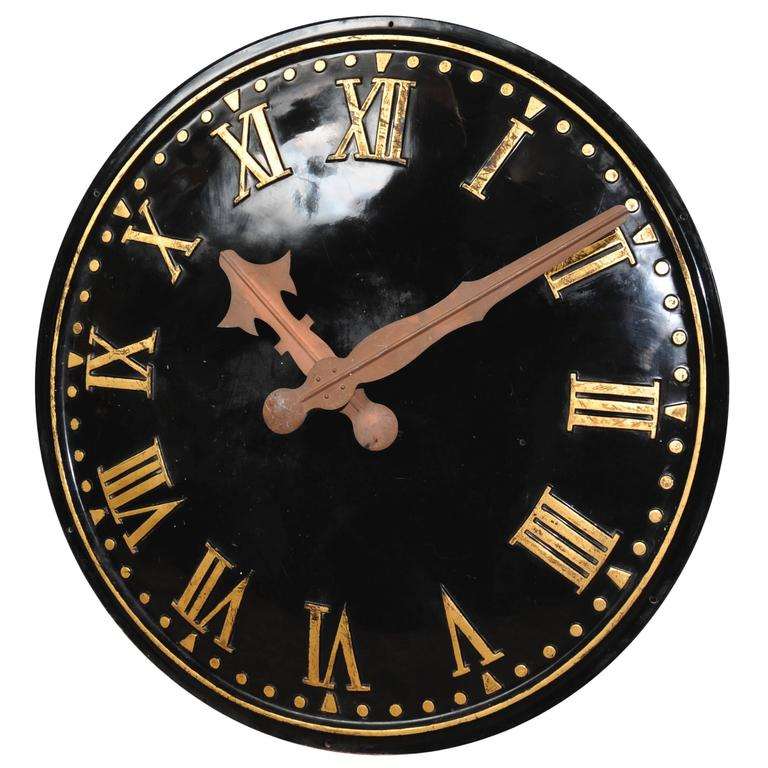 Large Clock Face With Copper Hands Working Electric