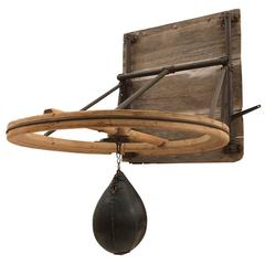 Enormous Early Speed Bag with Adjustable Height, circa 1900