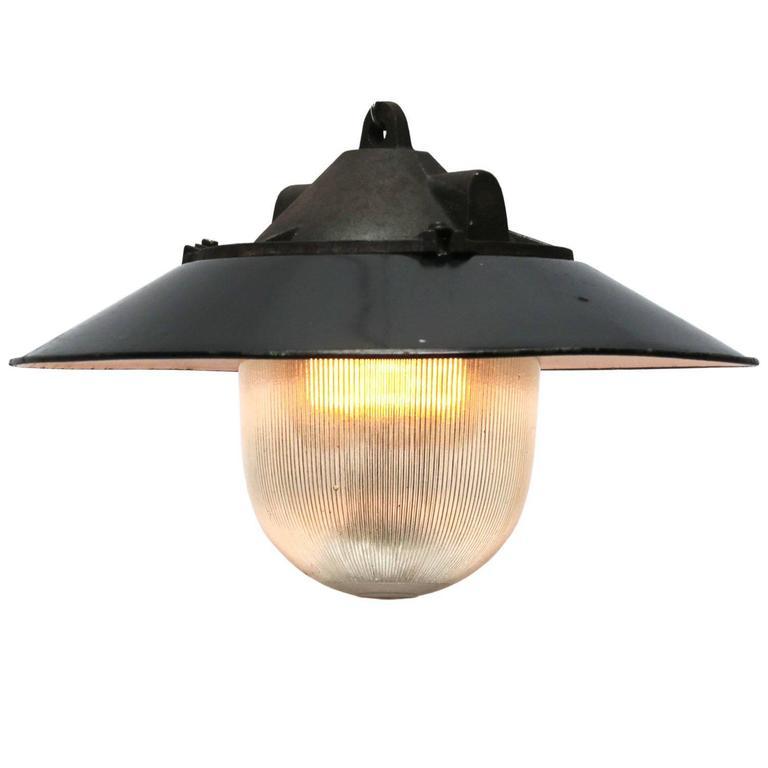 Black Enamel Holophane Glass Cast Iron Vintage Industrial Factory Lamps (2x)