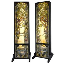 Bamboo Windows by Tiffany Studios, Pair
