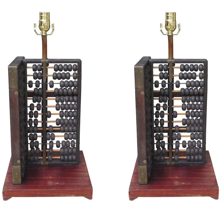Pair of Early Abacus as Lamps on Custom Bases