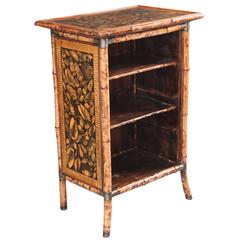 19th Century Victorian Decoupaged Shell Bamboo Bookcase