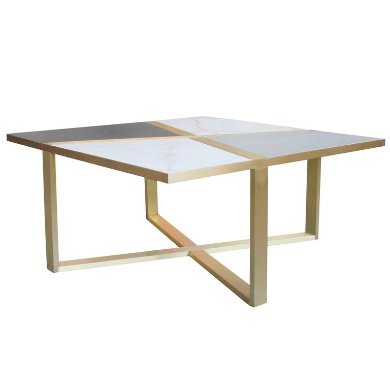 Bronze Frame Cocktail Table with Inlaid Marble and Leather For Sale