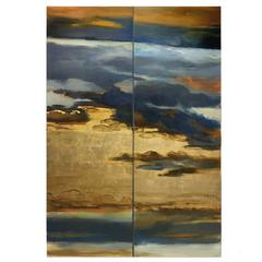 Golden Clouds, Painted Panel Series, Landsape