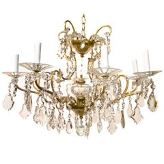 Italian Midcentury Gilt Bronze and Crystal Chandelier