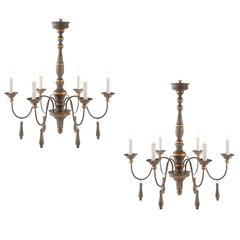 One Pair of Chic Six-Arm Chandeliers in Lovely French Grey Finish, Gilt Accents