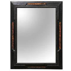 Italian Baroque Style Ebonized Mirror with Faux Burled Walnut Panels