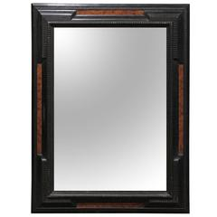 Italian Baroque Style Ebonized Mirror with Faux Burled Walnut Panels