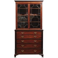 Late 18th Century, English George III Mahogany Secretary Bookcase