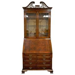 Tall Mahogany and Yew Wood Chippendale Style Computer Secretary Desk