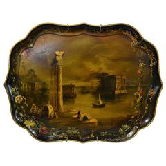 Large Mid-19th Century Jennings & Bettridge Hand-Painted Tray