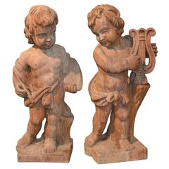 Pair of Italian Carved Wooden Cherubs, circa 1860