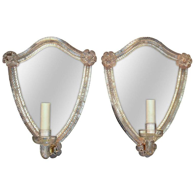 Pair of Venetian One Arm Etched Mirror Sconces For Sale