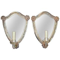 Pair of Venetian One Arm Etched Mirror Sconces
