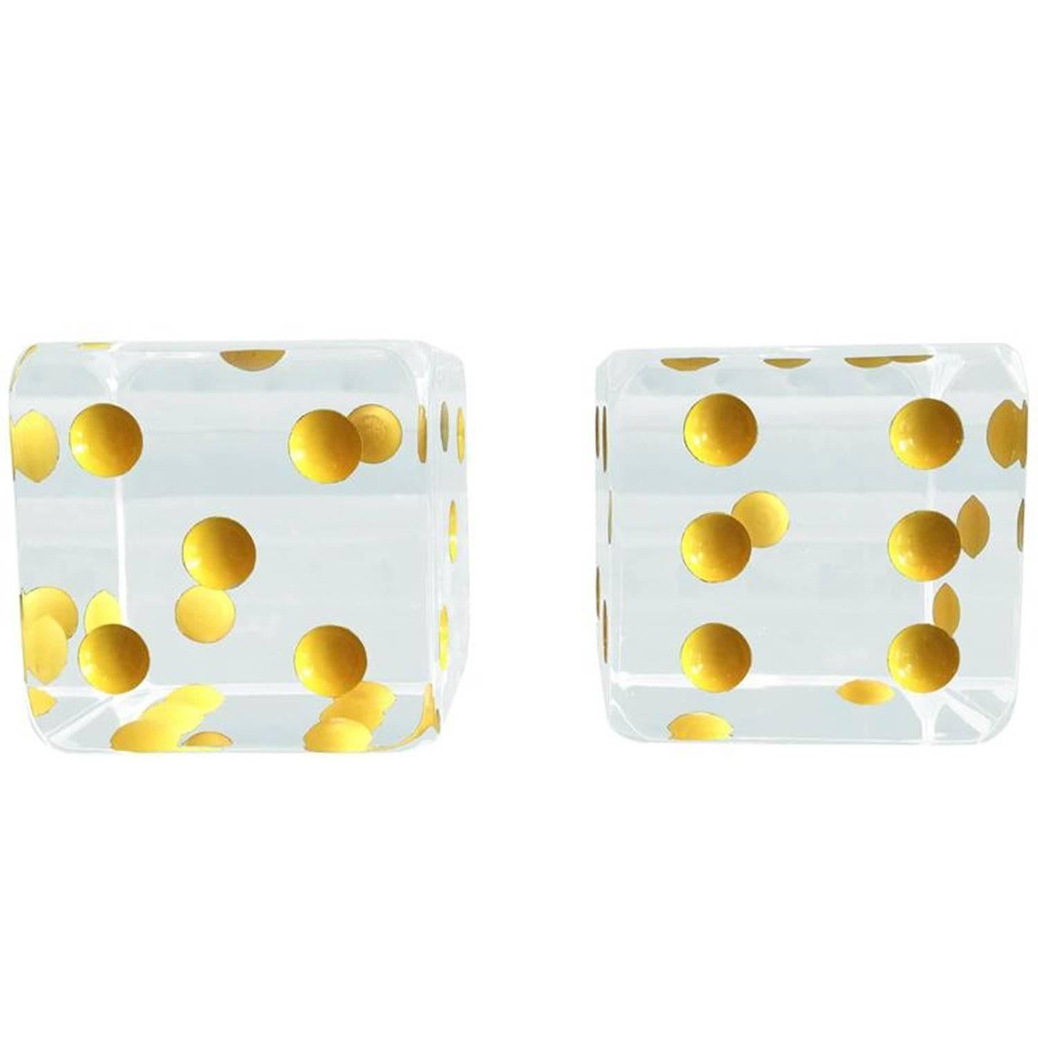 Oversized Dice Bookends in Lucite by Charles Hollis Jones
