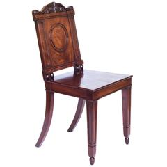 Fine English George III Regency Mahogany Hall Chair, Attributed to Gillows