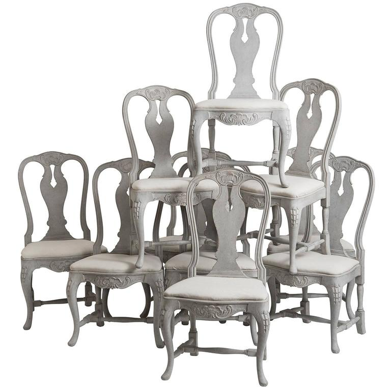 Ten Swedish, Rococo Style, Grey Painted Carved Wood Dining Chairs, Circa  1900 1