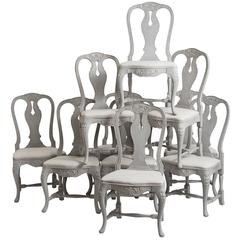 Ten Swedish, Rococo Style, Grey Painted Carved Wood Dining Chairs, circa 1900