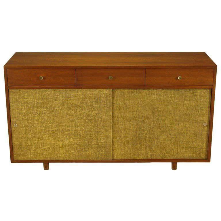 Custom Walnut and Lacquered Linen Sliding Door Nine-Drawer Cabinet 1
