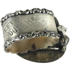 Wilcox Meriden Silver Plate Heart, Cupid and Wishbone Victorian Napkin Ring