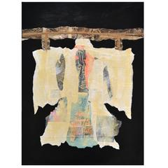 Abstract Mixed-Media Kimono Series Collage on Wood by Artist Jane Evans