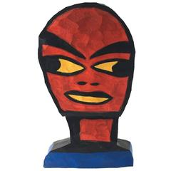 Tom Cramer Contemporary Art Wood Sculpture Superhero TOTEM Mask