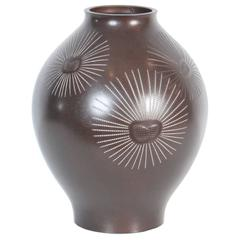 Vintage Japanese Bronze Vase with Silver Pine Needle Inlay, Taisho Period