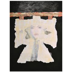 Abstract Mixed-Media Kimono Series Collage on Wood by Jane Evans