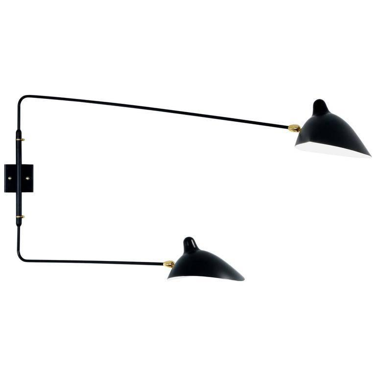 serge mouille two arm wall lamp at 1stdibs. Black Bedroom Furniture Sets. Home Design Ideas