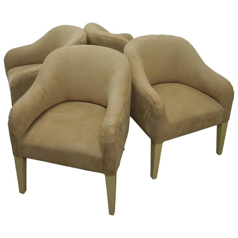Amazing Set of Four Steve Chase Lamb Suede Bucket Chairs For Sale at ...