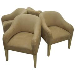 Amazing Set of Four Steve Chase Lamb Suede Bucket Chairs