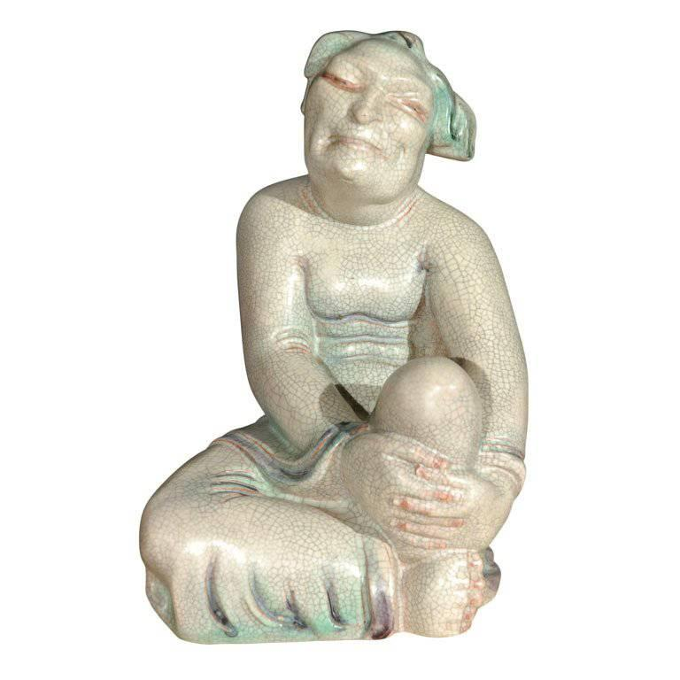 Large Crackle Glazed Buddha Figure 1