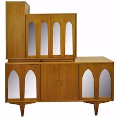 Mid-Century Modern Walnut Arch Mirror Credenza Bar Cabinet after Vladimir Kagan