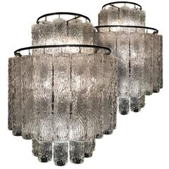 Elegant Pair of Murano Glass Tube Chandeliers