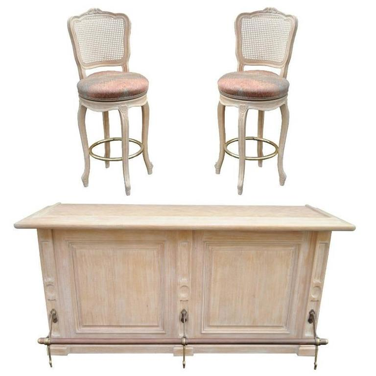 French Louis Xv Style Bar Counter And Pair Of Cane Swivel
