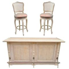 French Louis XV Style Bar Counter and Pair of Cane Swivel Bar Stool Chairs