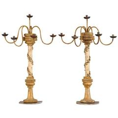 Pair of Antique Italian Gilded, Carved, Painted Five-Arm Candelabras, circa 1850