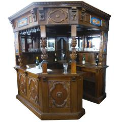 Carved Oak Canted Corner Bar