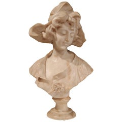 19th Century French Carved Patinated Marble Bust of a Young Beauty