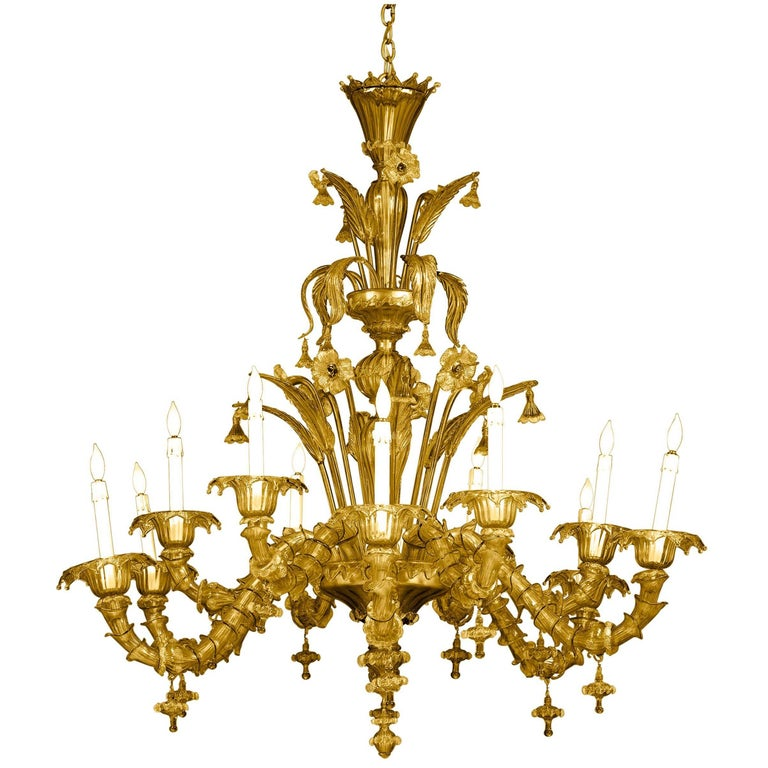 Venetian-Murano Glass Chandelier For Sale