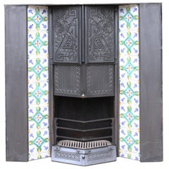 Reclaimed Arts & Crafts Style Tiled Fire Insert