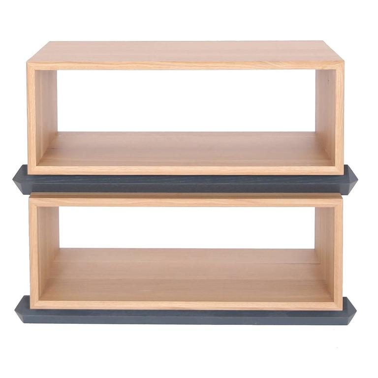 stack storage two tier wood open shelves for sale at 1stdibs rh 1stdibs com stackable shoe shelves wood Storage Solutions Stacking Shelves