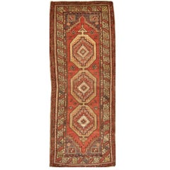 Vintage Hand Knotted Wool Turkish Anatolian Runner Rug