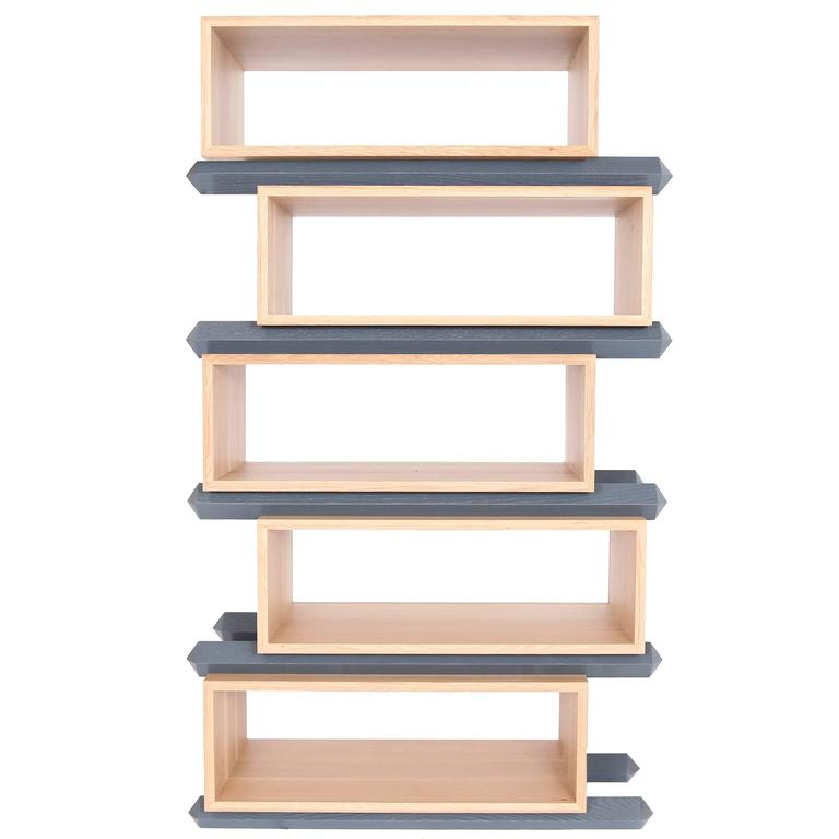 Stack Storage Five-Tier Wood Staggered Open Shelves