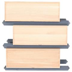 Stack Storage Three-Tier Wood Staggered Drawers