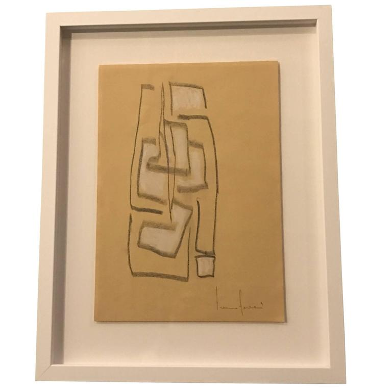 Contemporary Italian Artist Franco Ferrari Charcoal Drawing For Sale