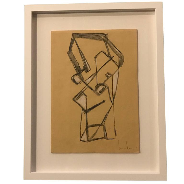 Italian Artist Franco Ferrari Charcoal Drawing, Contemporary For Sale
