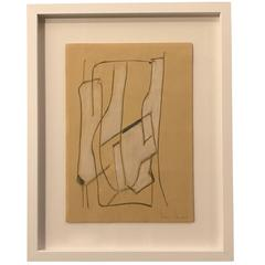 Italian Artist Franco Ferrari Charcoal Drawing, Contemporary