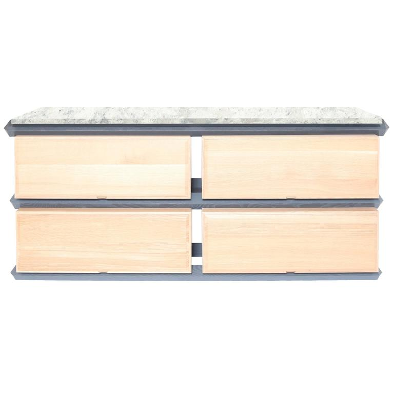 Stack Storage Two-Tier Wood Drawers with Stone Top